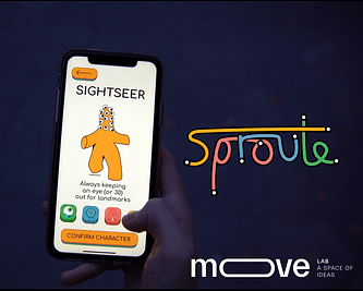 person holding phone with sproute logo on screen