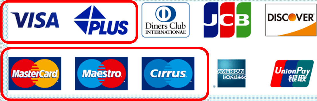 travel with money at ATMs showing the stickers such as Visa, Mastercard Cirrus.