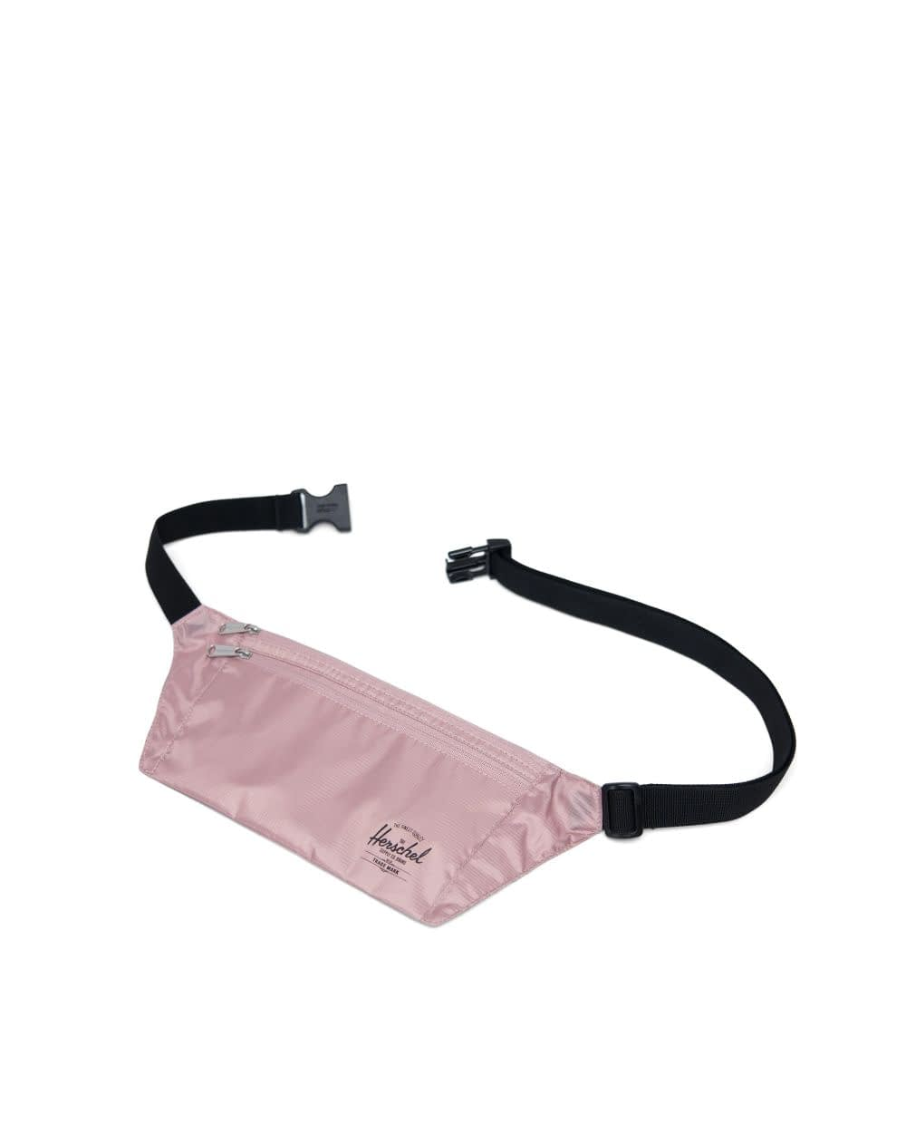 pink waist pouch with black straps