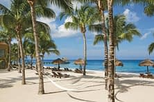 white sandy beach with thatched beach umbrellas and hammocks amongst palm trees