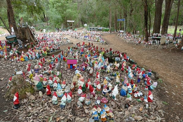 Ferguson valley number one attraction - thousands of gnomes sprawled in and around garden paths