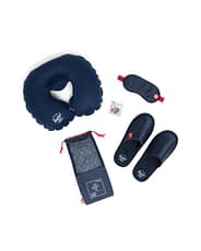 a kit including inflatable neck pillow, eye mask and slippers