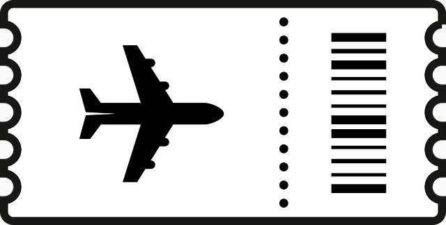 a black and white ticket stub with a picture of a plane to indicate budget travel