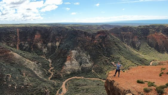 one of the things to do in exmouth is stand on a ledge overlooking the Charles Knife gorge below