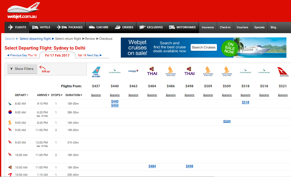 screenshot of webjets website showing airfares from different airlines so you can book the cheapest flight