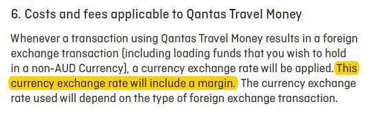 an excerpt of the fine print from Qantas Travel Money.