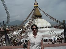 standing in front of boudhanath stupa