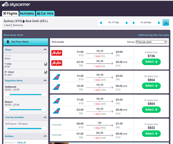 screenshot of skyscanners results page showing airfares from different airlines so you can book the cheapest flight