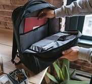 upzipped backpack showing compartments