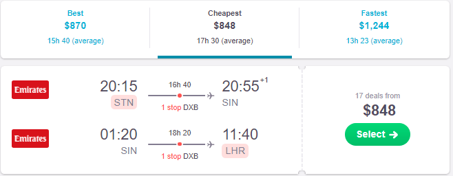screenshot of skyscanner webstie to show london to singapore airfares