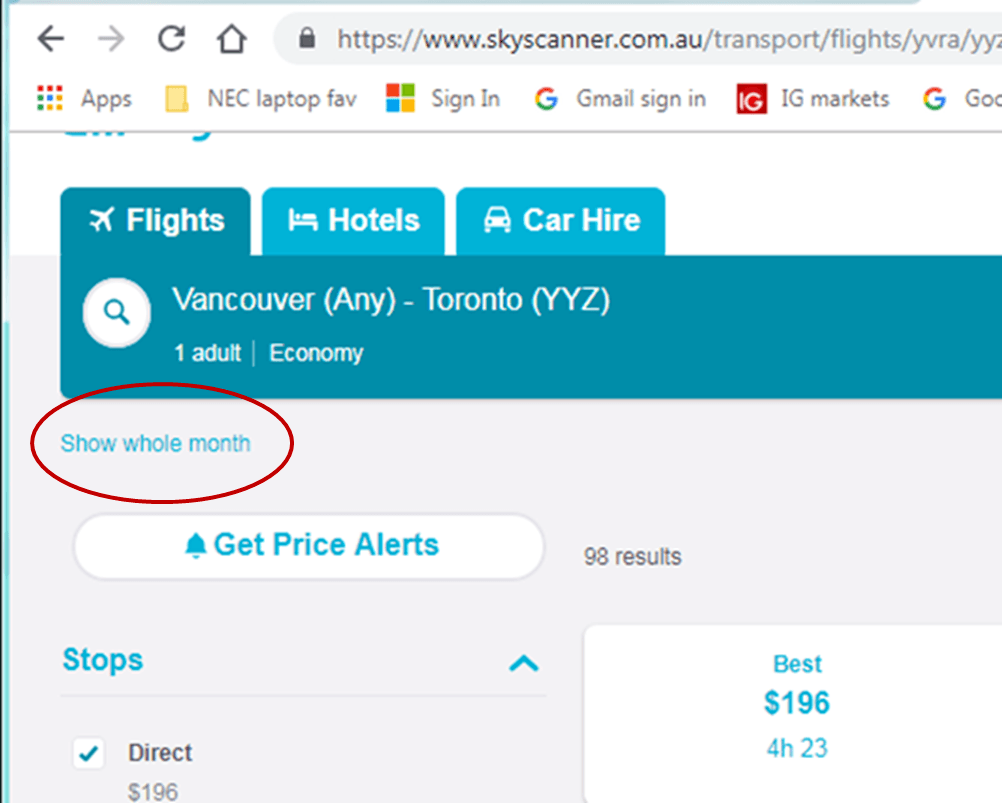 screenshot of skyscanner webpage showing whole month function