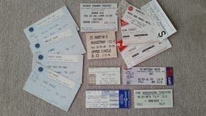 a photo of various theatre tickets