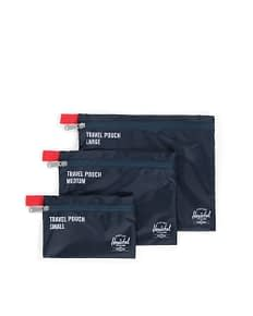 Herschel travel pouches in blue with red tab in 3 sizes