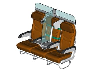 new travel trend showing a plastic divider on the middle seat on a plane