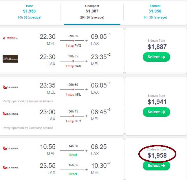 screenshot of skyscanner website to show single flight prices