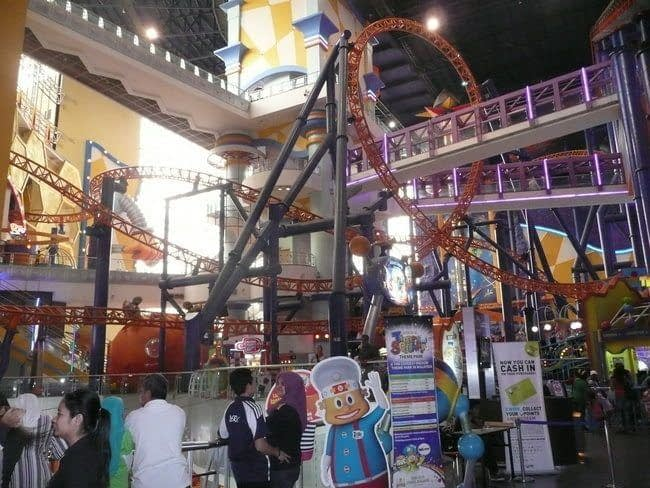 shopping in kuala lumpur includes an indoor roller coaster