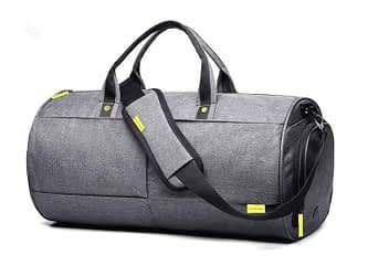 grey cylinder shaped duffle bag