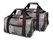 travel gift of grey coloured carry bags with black straps