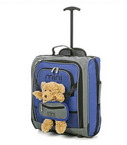 travel gift for children - small blue and grey suitcase with pouch holding a teddy bear