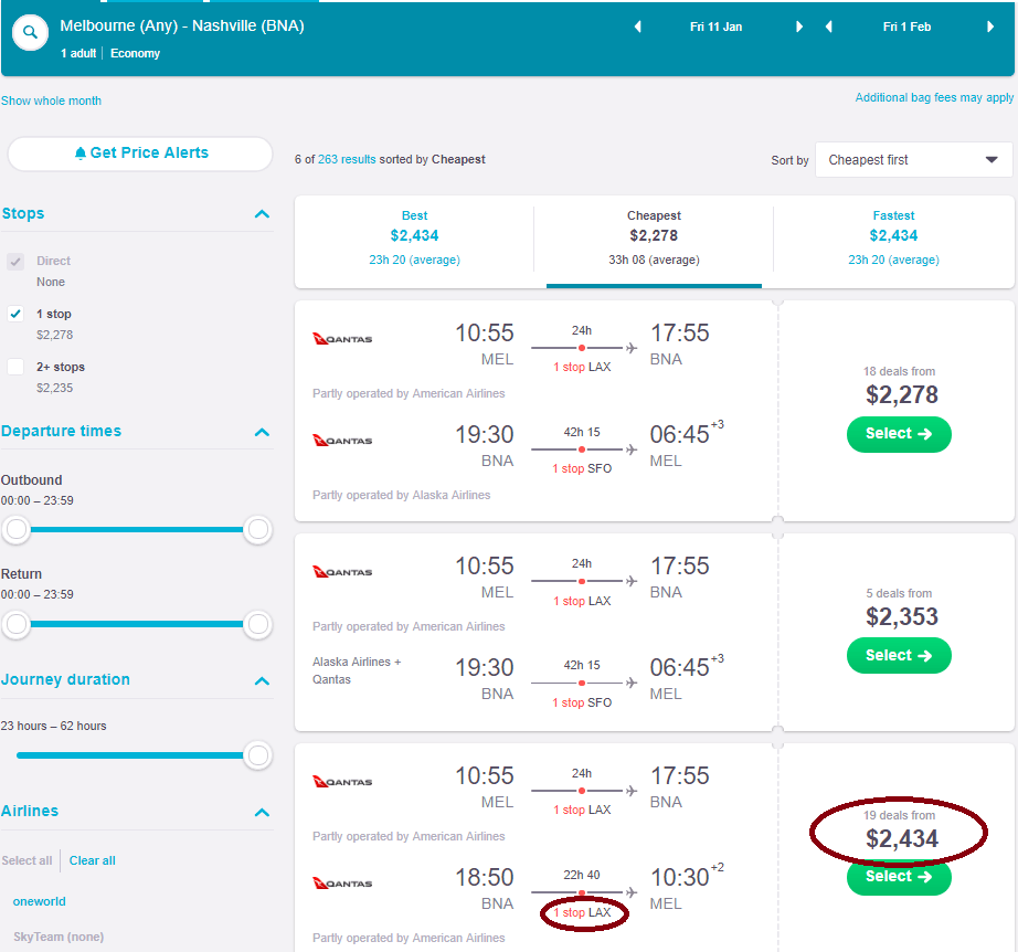 screenshot using Skyscanner website to compare flight prices