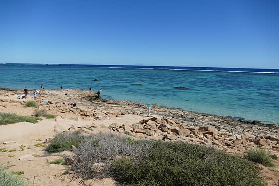 rocky beach in foreground with a reef under shallow water in the background - things to do in exmouth