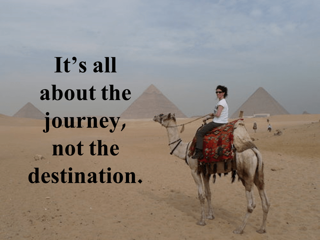 a female sitting on a camel in front of the pyramid plus a quote