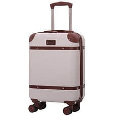 Aerolite vintage classic hand luggage with wheels in beige and brown trimmings
