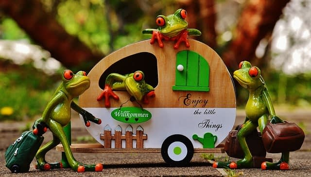 a miniture model of a caravan surrounded by four frog figurines with suticasses