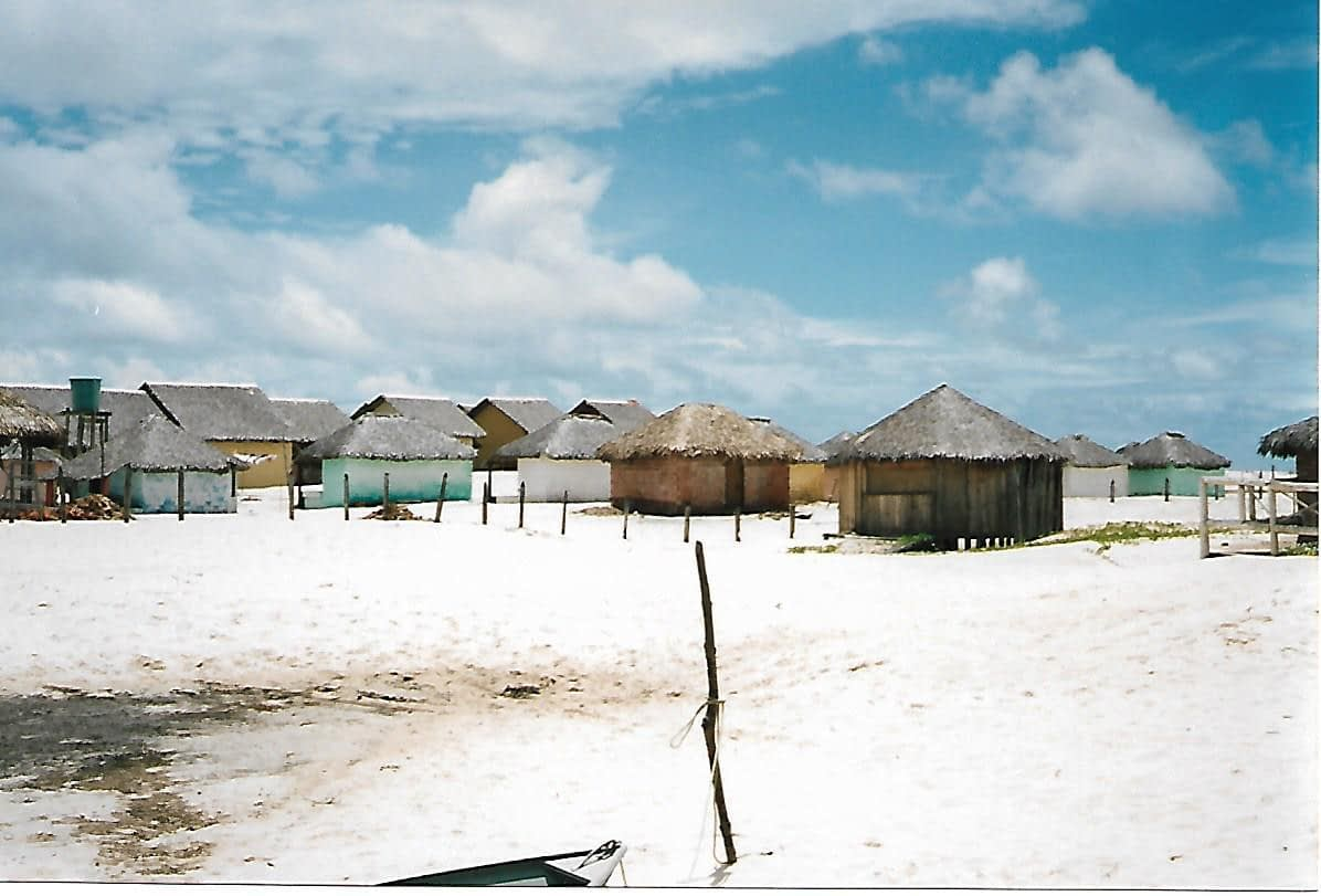 rustic thatched cabins surrounded by pure white sand
