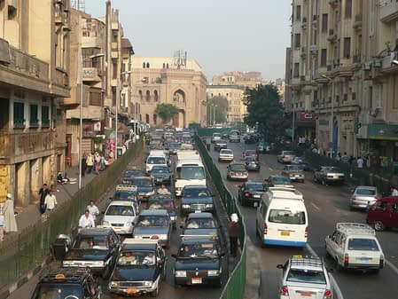 travelling in egypt will include crossing busy streets jammed packed with cars