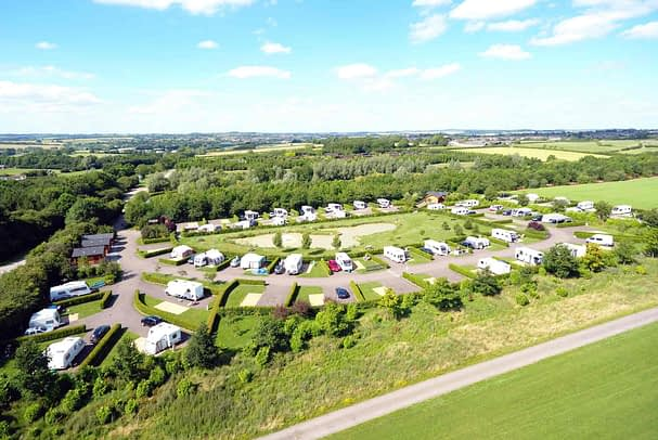 aerial shot of spacious motorhome campsites