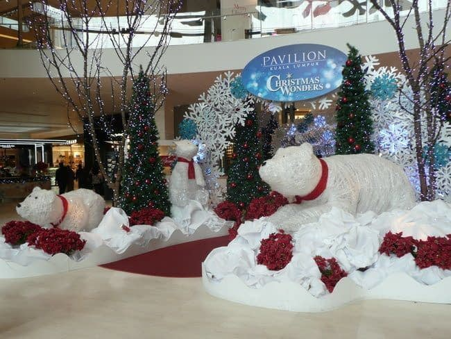shopping in kuala lumpur includes christmas decorations in main foyer