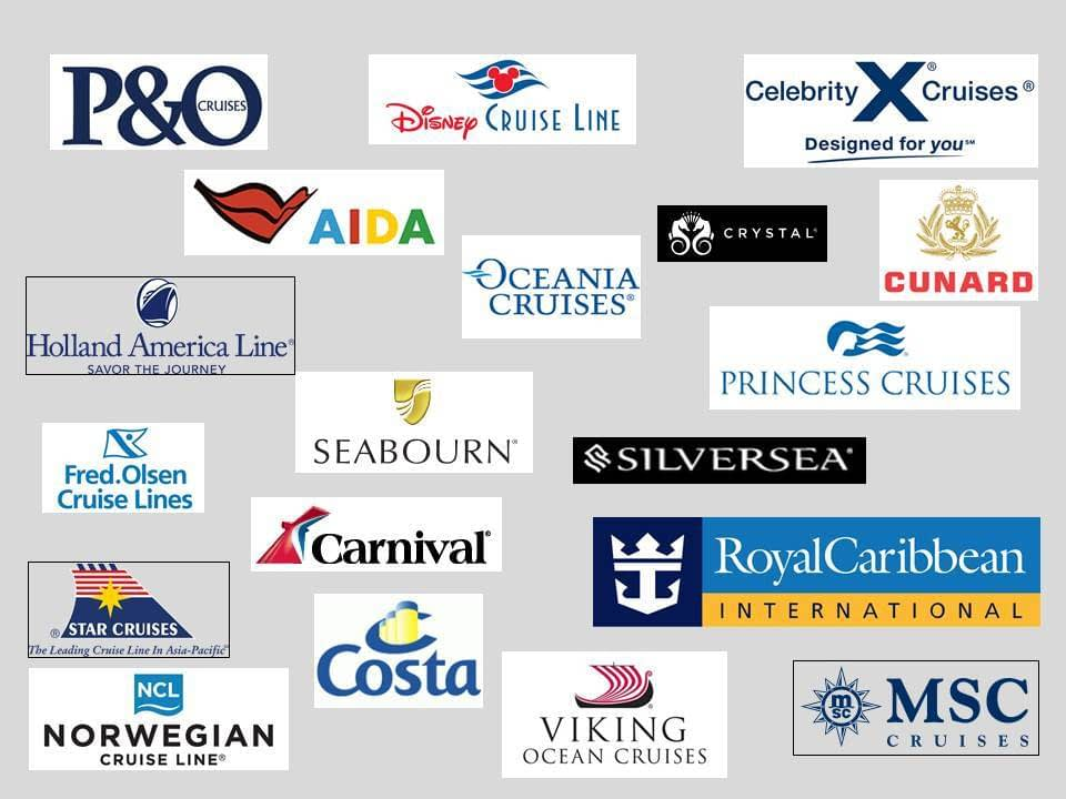 choose your cruise from this collage of cruiseline company names and logos