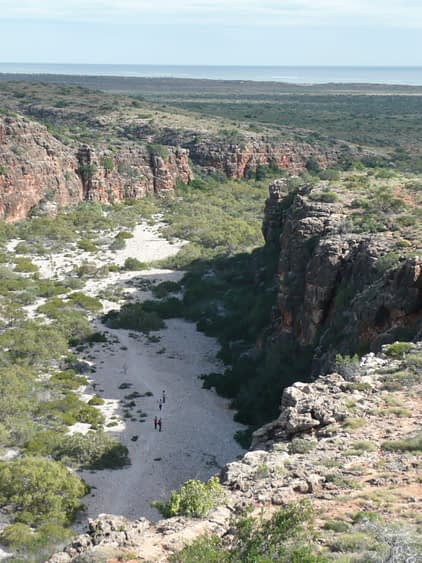 looking down a ridge into a dried up gorge